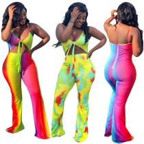 Women Spaghetti Strap V Neck Bandage Print Bodycon Club Party Long Jumpsuit