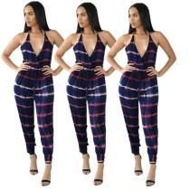 Women Halter Bandage Stripe Print Backless Sexy Long Jumpsuit