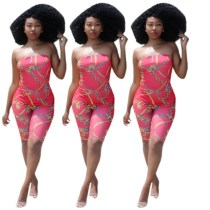 Sexy Women Strapless Chains Print Bodycon Cropped Jumpsuit