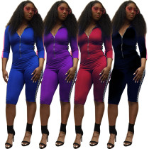 Women 3/4 Sleeves Zipper Bodycon Side Print Patchwork Casual Club Short Jumpsuit