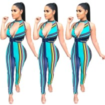 Women Sexy Halter V Neck Sleeveless Stripe Print Backless Bodycon Jumpsuit