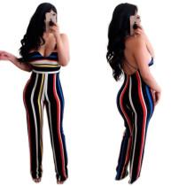Sexy Women Spaghetti Strap Colorful Stripe Print Backless Long Jumpsuit