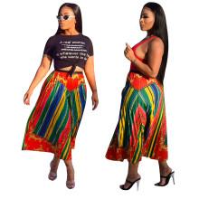 Women Fashion Printed Elastic Waist Pleated A-line Skirt