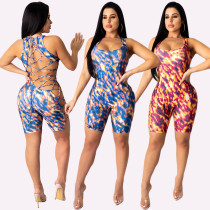 Sexy Women Sleeveless Printed Bandage Hollow Out Bodycon Jumpsuit