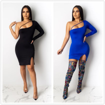 Sexy Women Sloping Shoulder Single Sleeve Solid Bodycon Dress