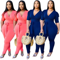 Women Short Sleeves V Neck Solid Color Belted Bodycon Club Party Casual Jumpsuit