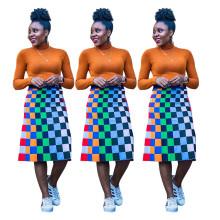Women Elastic Waist Casual Colorful Checks Plaids Print Cute Knee Length Skirts