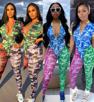 Women Short Sleeves Camouflage Print Patchwork Bodycon Club Party Long Jumpsuit