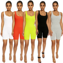 Women Sexy Sleeveless Solid Color Bodycon Short Jumpsuit Romper