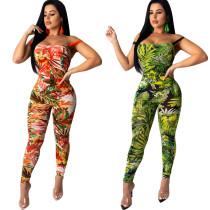 Women Spaghetti Strap Floral Print Slim Backless Bandage Bodycon Club Jumpsuit