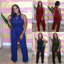 Women Sexy Solid Color Sleeveless Hollow Out Belted Long Jumpsuit