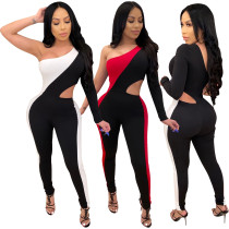 Women Sexy Single Sleeve Color Block Hollow Out Bodycon Jumpsuit