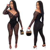 Women Sexy V Neck Long Sleeve Flocking Mesh Patchwork Belted Jumpsuit
