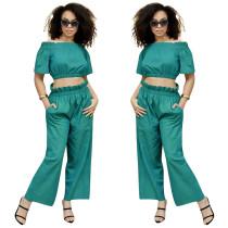 Women Solid Color Boat Neck Short Sleeve Crop Top+Long Pants Set 2pcs