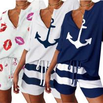 Women V Neck Short Sleeve Printed Short Pants Set Casual 2pcs