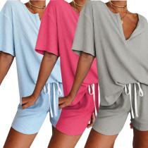 Women V Neck Short Sleeve Solid Color Short Pants Set Casual 2pcs