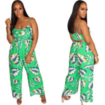 Women Spaghetti Strap Print Casual Back Hollow Out Club Party Wide Legs Jumpsuit