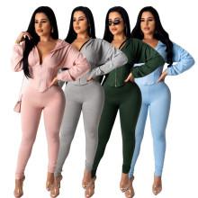 Women Hooded Long Sleeves Zipper Nipped Waist Solid Long Jumpsuit 2pcs