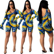Women Sexy Cold Shoulder Long Sleeve Printed Bodycon Short Jumpsuit