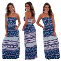 Women Strapless Printed Pockets Casual Long Dress