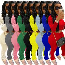 Women Fashion Long Sleeve T-shirt Solid Pockets Draped Pants Suit 2pcs