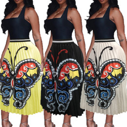Women Casual Elastic Waist Cute Butterfly Print Full Skirts Long Pleated Skirts