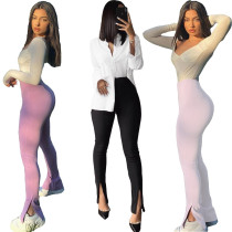 Women Casual Shaping Bodycon Slim Skinny Pure Color Slit Pants