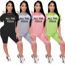 Women Fashion Short Sleeve Letter Print Casual Short Pants Set 2pcs