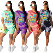 Women Fashion Short Sleeve Cartoon Tie-dyed Print Casual Short Pants Set 2pcs