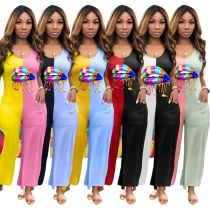 Women Sleeveless Colorful Lip Print Color Block Pockets Loose Jumpsuit