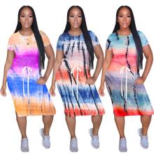 Women Short Sleeves Tie Dyed Print Elastic Waist Casual Club Party Knee Dress