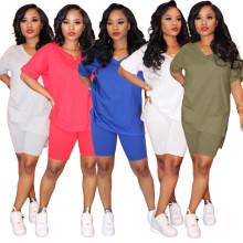 Women Fashion Short Sleeve V Neck Solid Color Casual Jumpsuit 2pcs