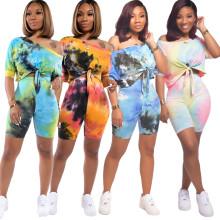Women Fashion Short Sleeve Bandage Top Tie-dyed Print Short Pants Set