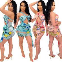 Women Sexy Sleeveless Letter Print Bandage Irregular Mesh Dress