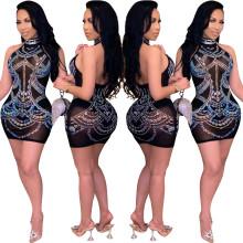 Women Sexy Halter Backless Rhinestone Perspective Mesh Dress