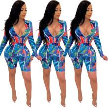 Women Long Sleeves Zipper Bodysuit Leaves Print Middle Pants Set