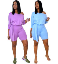 Women 3/4 Sleeve Solid Color Belted Casual Cropped Jumpsuit