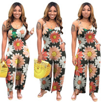Women Sleeveless Floral Print Pockets Casual Loose Jumpsuit