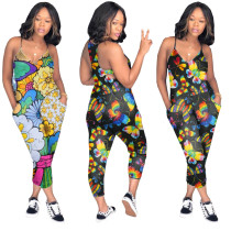 Women Sleeveless V Neck Printed Pockets Casual Jumpsuit