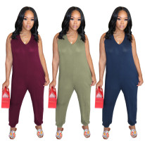 Women Sleeveless V Neck Pockets Solid Color Casual Jumpsuit