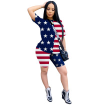 Women Independence Day Short Sleeve American Flag Print Casual Outfits 2pc S-2XL