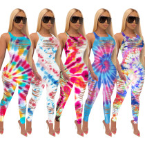 Women Tie-dyed Print Sleeveless Backless Burn-out Bodycon Jumpsuit
