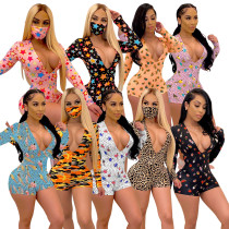 Women V Neck Long Sleeve Cute Print Bodycon Club Party Short Jumpsuit(without mask)