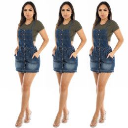 Women Sexy Single-breasted Pockets Casual Denim Suspender Skirt