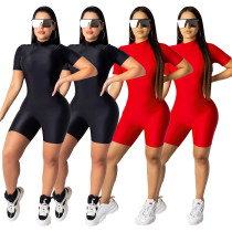 Women Short Sleeve Solid Color Bodycon Short Jumpsuit Romper