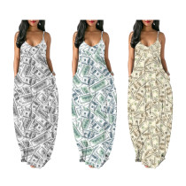 Women Spaghetti Strap Dollars Print Pockets Casual Loose Dress