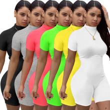 Women Short Sleeves Pure Color Zipper Casual Fashion Sports Gym Short Jumpsuit
