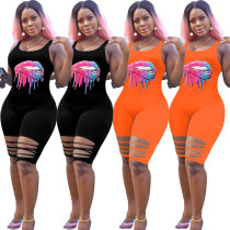 Women Sleeveless Lip Print Burn-out Casual Bodycon Jumpsuit