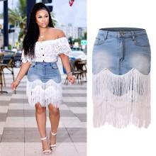 Women Fashion High Waist Tassels Patchwork Irregular Denim Skirt