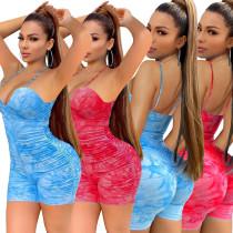 Women Sexy Spaghetti Strap Printed Draped Bodycon Short Jumpsuit
